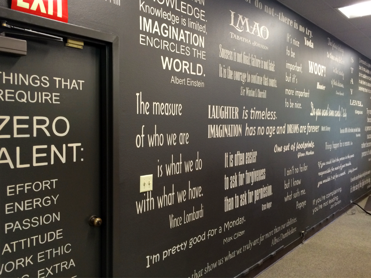 Brush lettered inspirational quotes on 25' wall at Continental Marketing in Tualatin