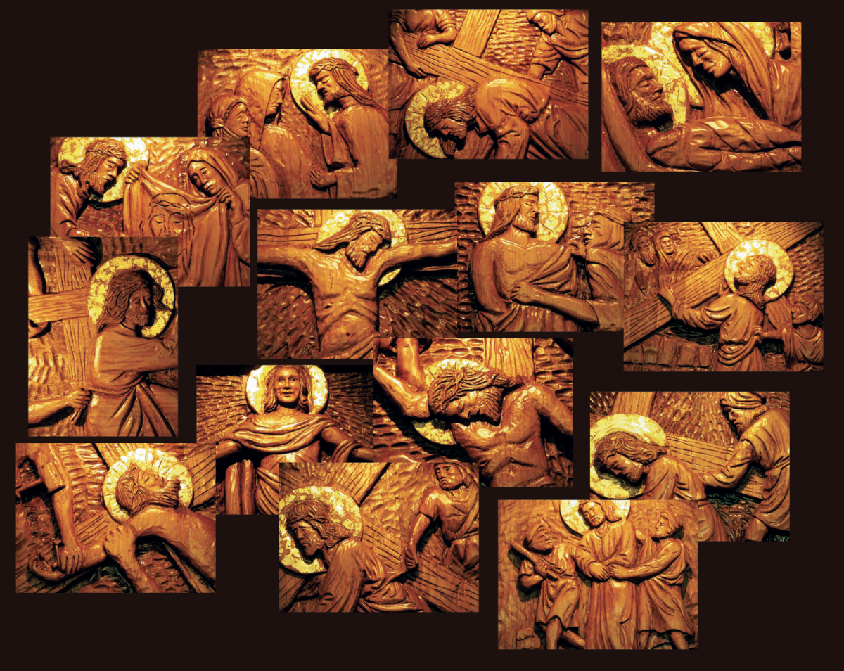 Stations of the Cross a permanent display of 14 hand carved wood blocks