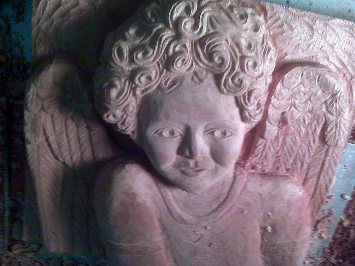 The Cherub - in progress, wood sculpture commissioned by a local children's Hospital