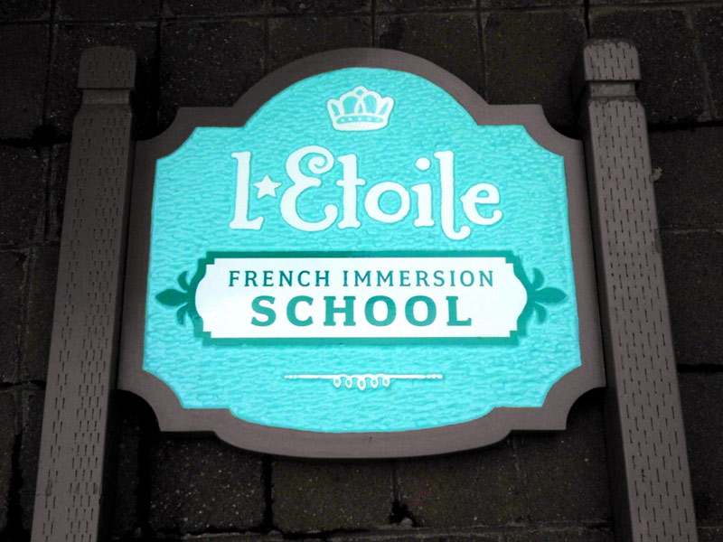 Double-sided carved monument sign for L-Etoile French Immersion School, SW Portland, OR