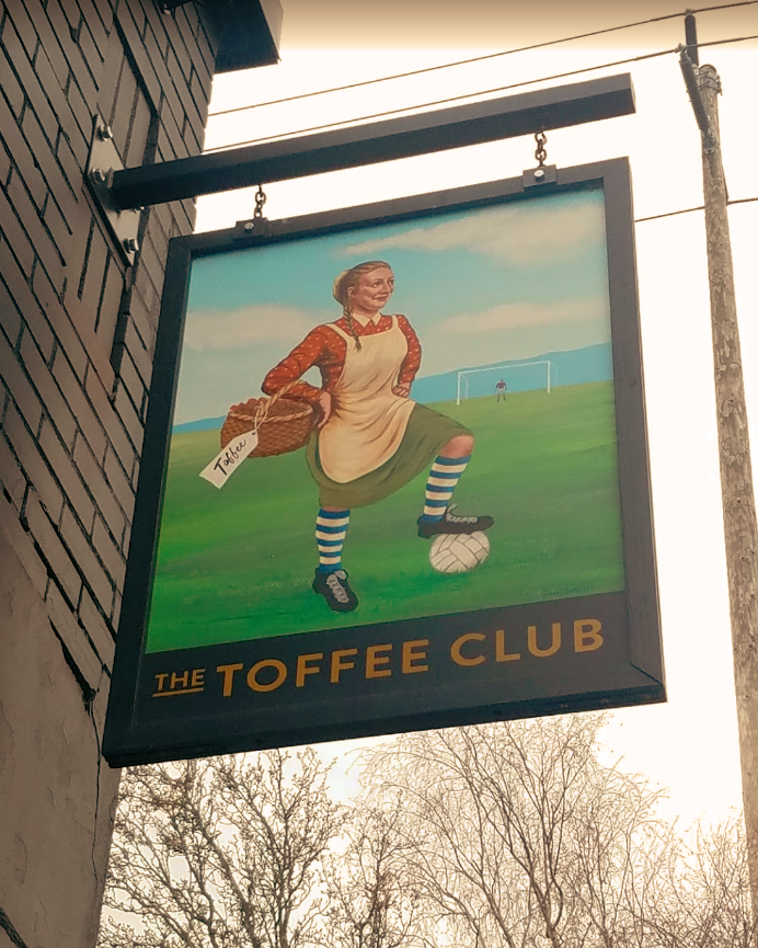 Hand Painted Double-sided hanging blade sign for The Toffee Club, English Football Pub, SE Hawthorne