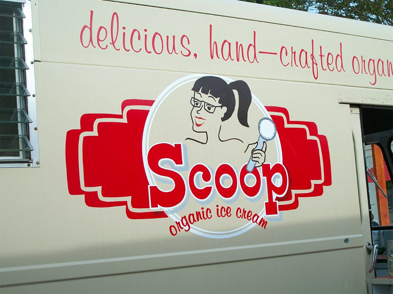 Vehicle sign for Scoop Organic Ice Cream