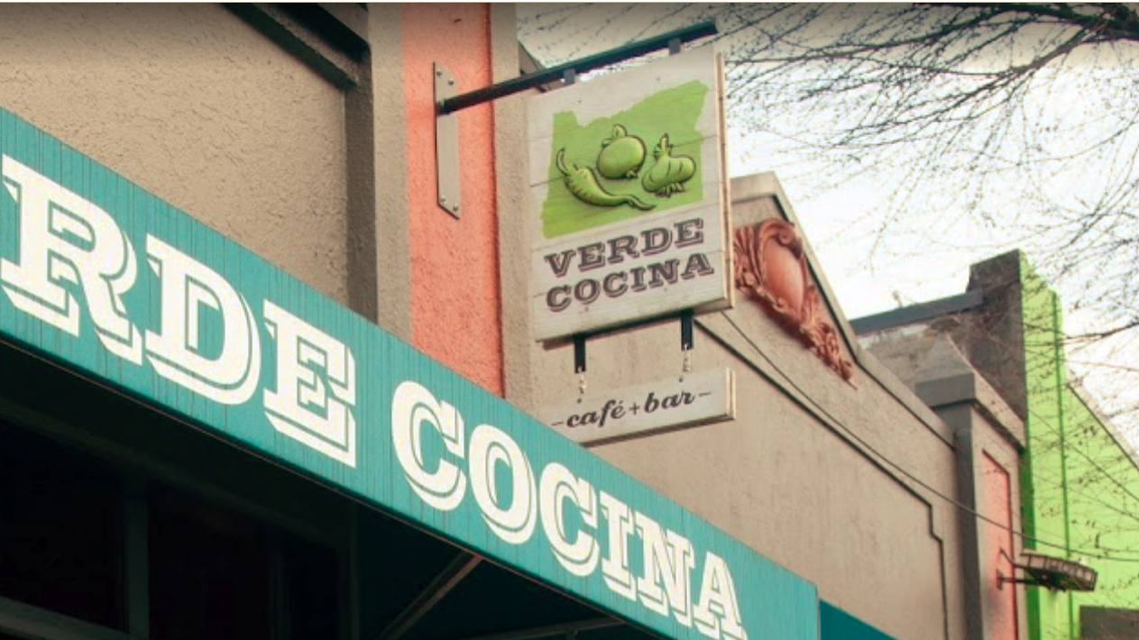 Two-sided, two panel, projecting sign with dimensional elements for Verde Cocina